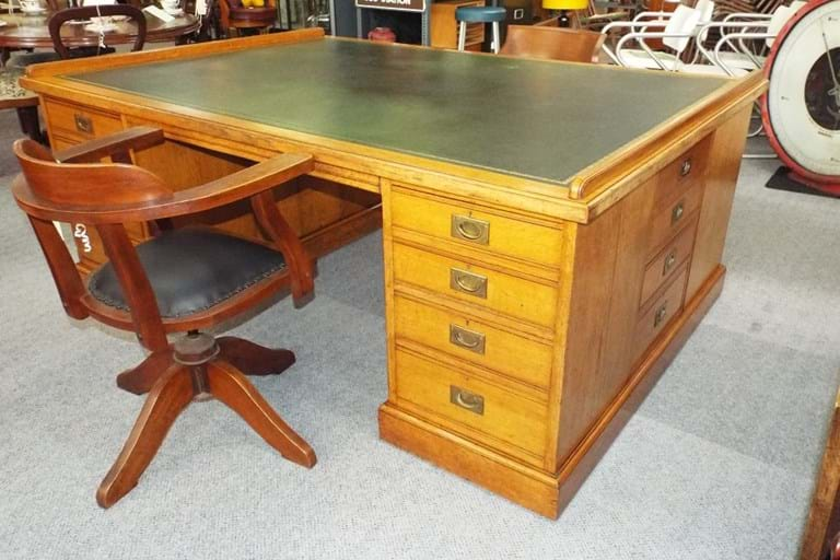 Victorian English oak partners desk