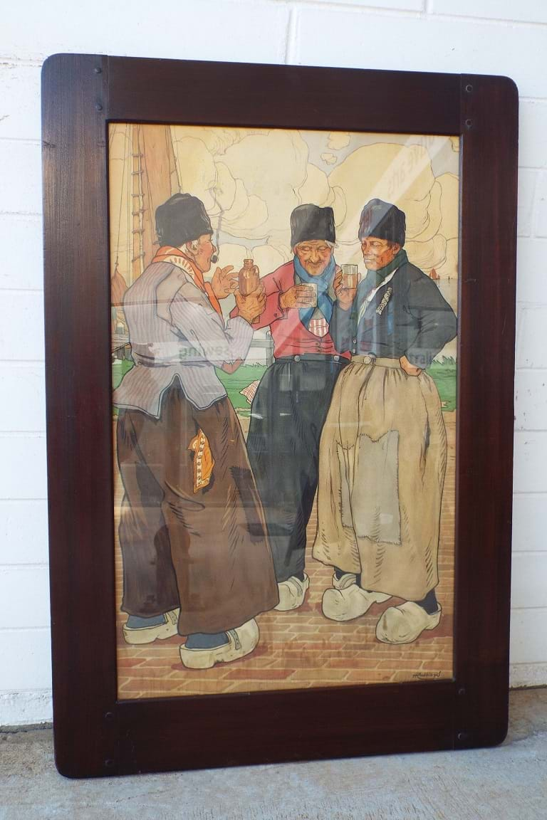 Victorian lithograph Three Flemish Fishermen Drinking by Henri Cassiers