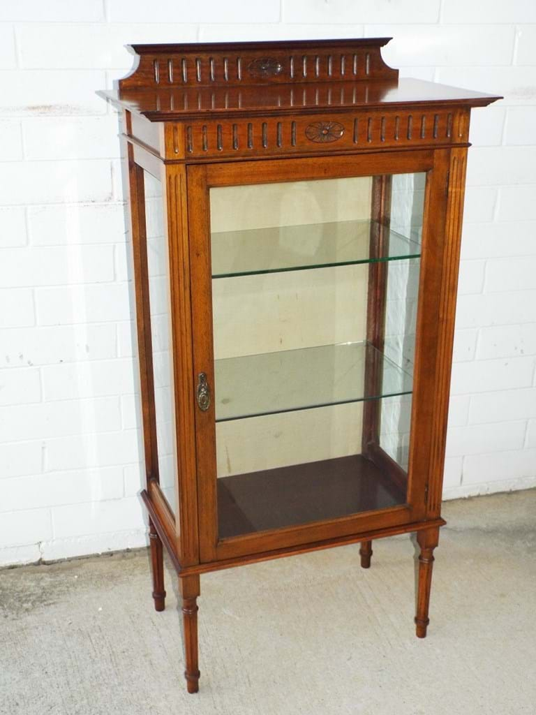 Edwardian maple display cabinet