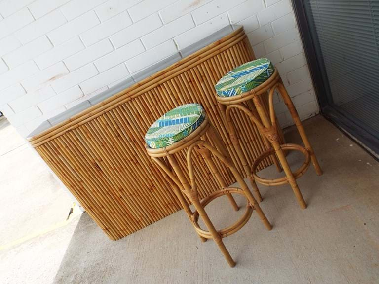 1960s bamboo bar, four stools and matching wall shelf