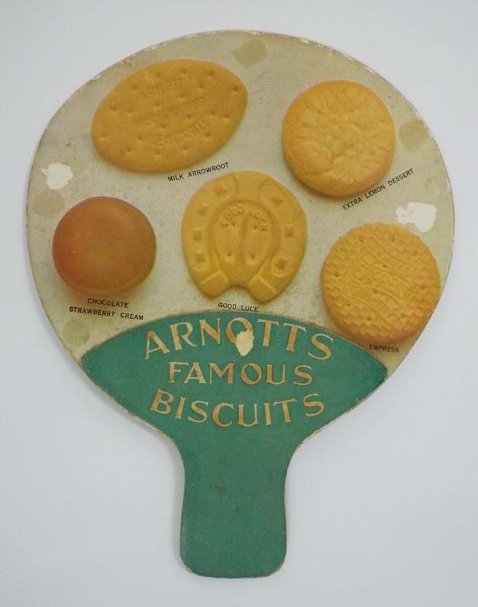 Reverse of Arnotts Biscuits advertising fan
