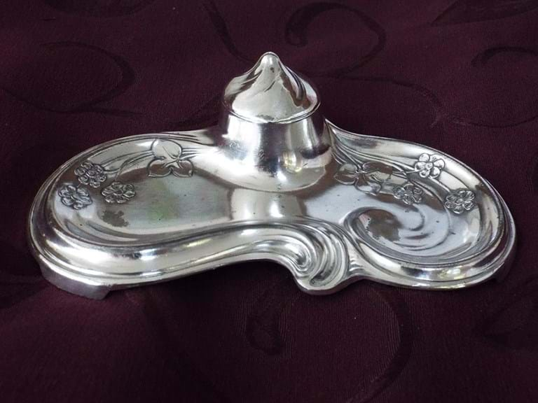 WMF art nouveau silver plate inkwell/desk stand
