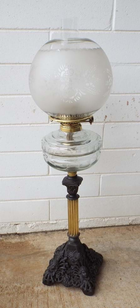 Victorian/Edwardian double burner oil lamp