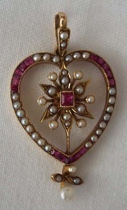 Saunders and Shepherd 15 carat gold ruby and pearl pendant