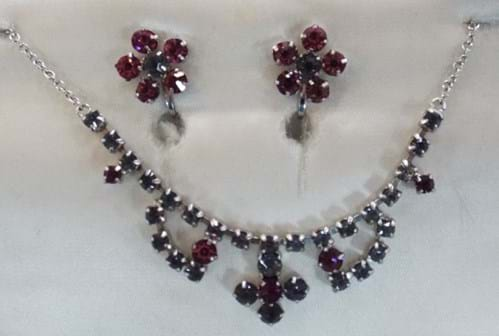 1950 rhinestone earrings and necklace set
