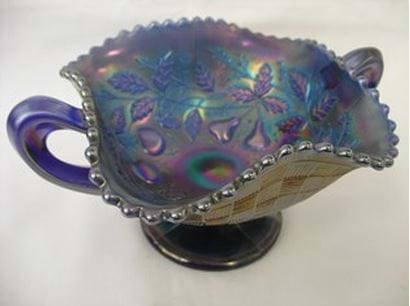 Northwood USA blue carnival glass Fruit & Flowers compote