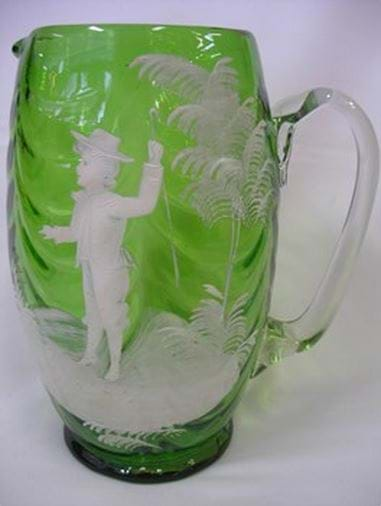c1900 Mary Gregory green glass vase