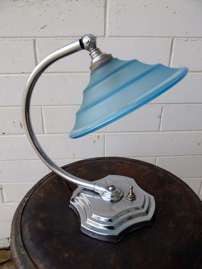1950s table/desk lamp chrome with original blue satin glass shade