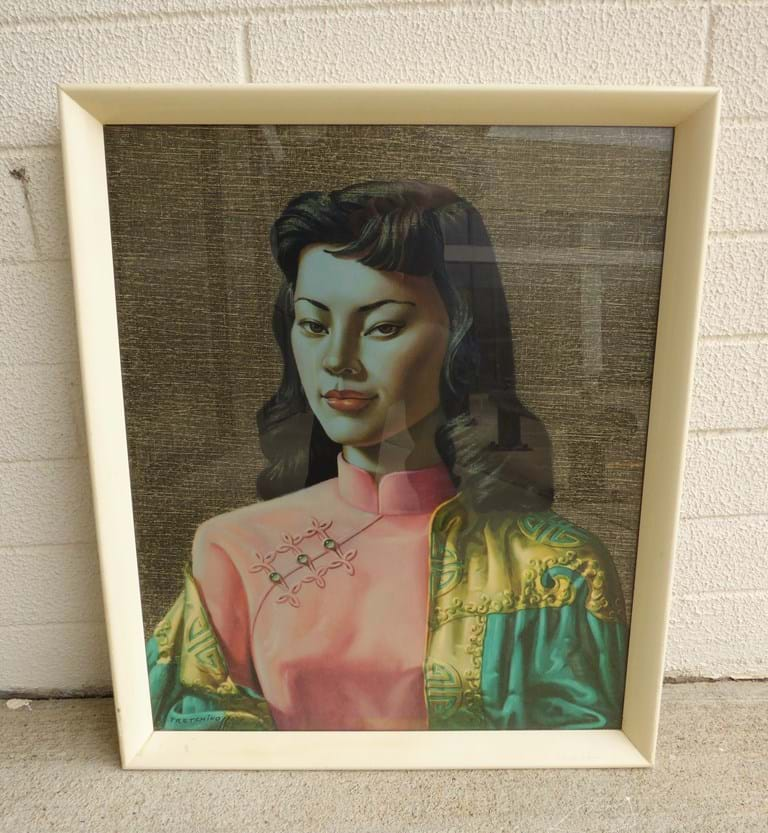"1950s glazed print, ""Miss Wong"", by Vladimir Tretchikoff"