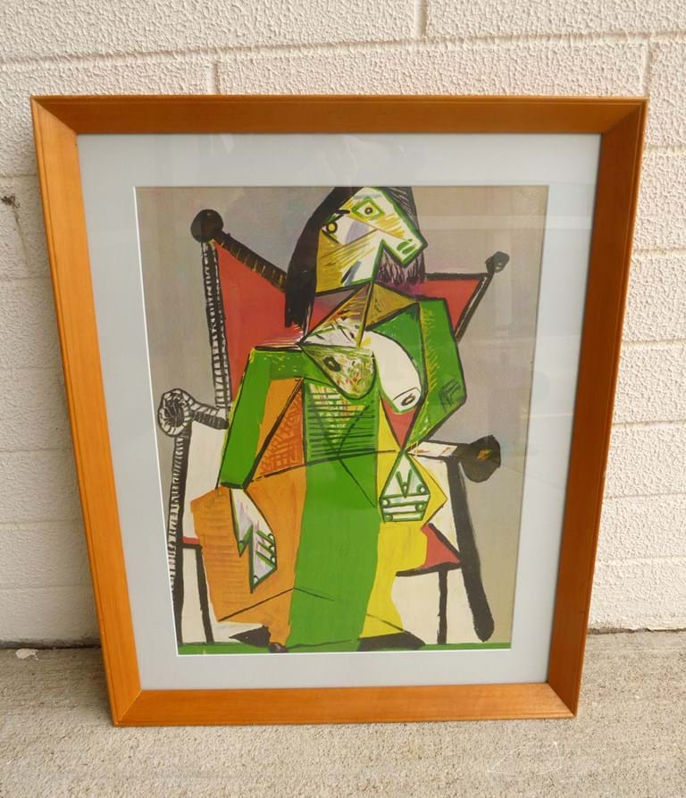 "1950s glazed print, ""Woman sitting in an armchair"" by Picasso"