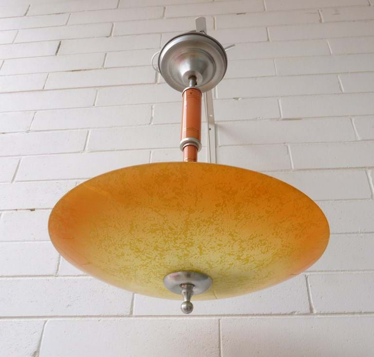 1950s single shade pendant light fitting Crown Crystal, Sydney