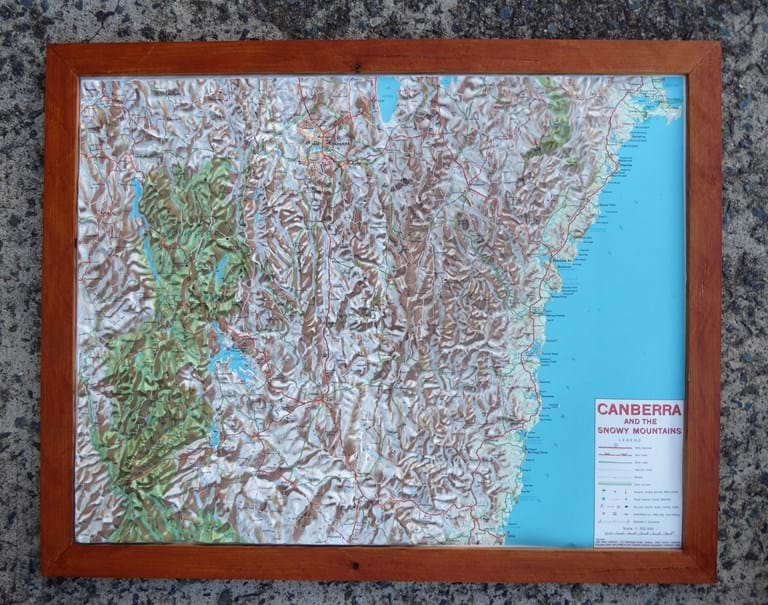 1970s plastic relief map of the Australian Capital Territory