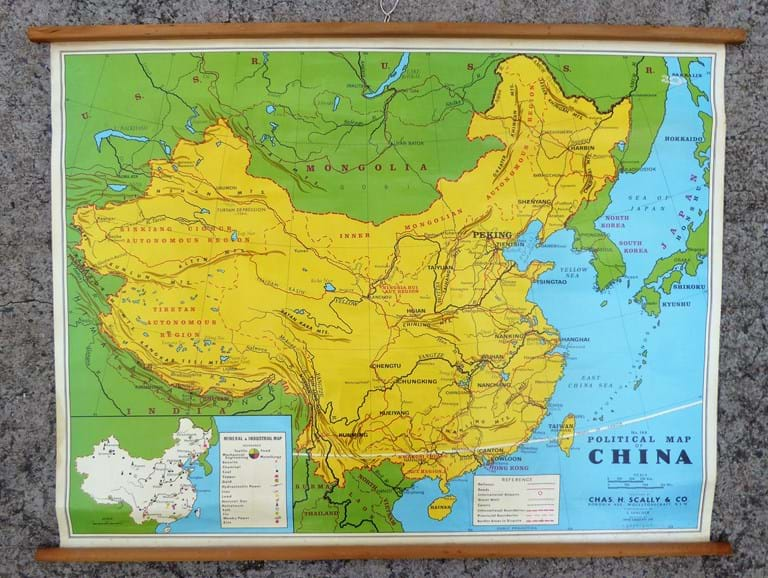 "c1980s teaching map No. 144, ""Political Map of China"" by Chas. H. Scally & Co"