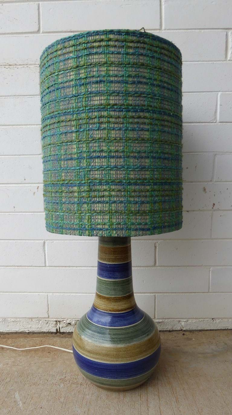 1970s ceramic table lamp with original textured fabric shade