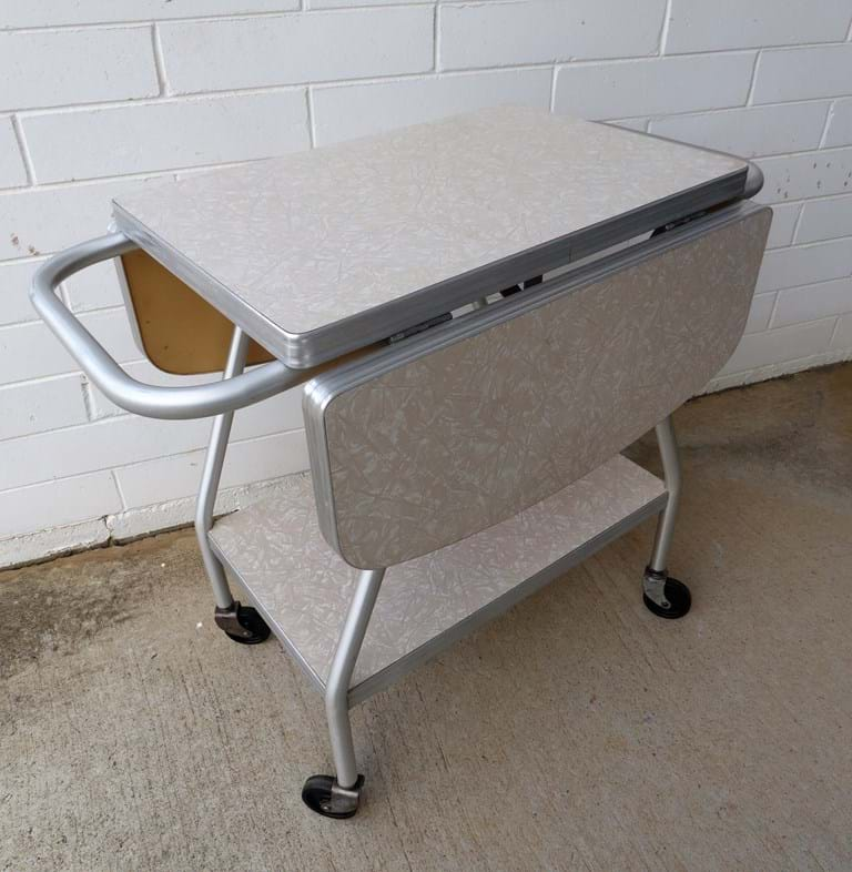 1950s two-tier aluminium drop-side trolley