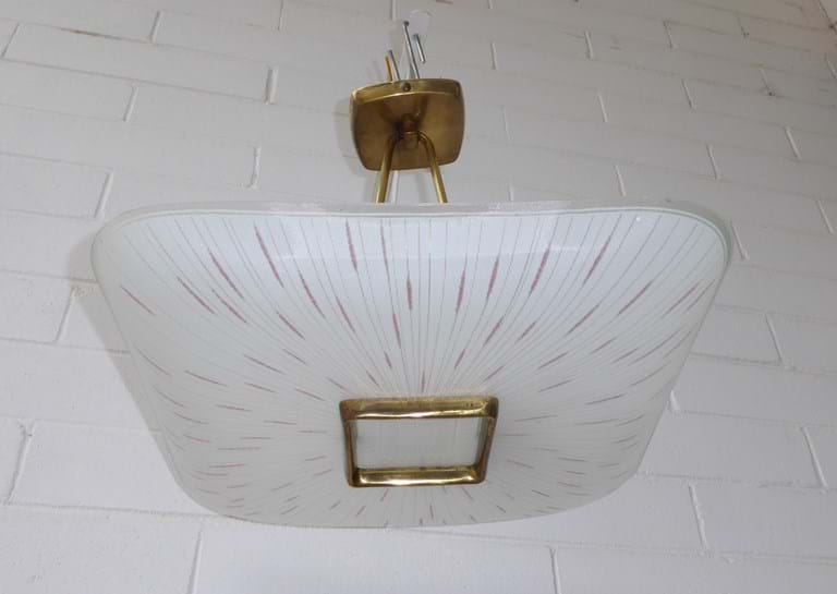 1960s single shade suspension light fitting by Kempthorne