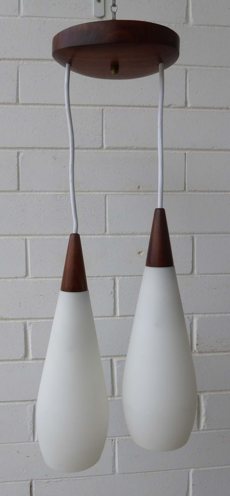 1960s two-drop pendant light fitting with satin white glass shades