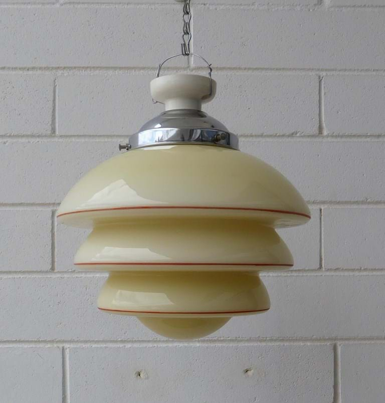 c1950s geometric glass ceiling shade and gallery