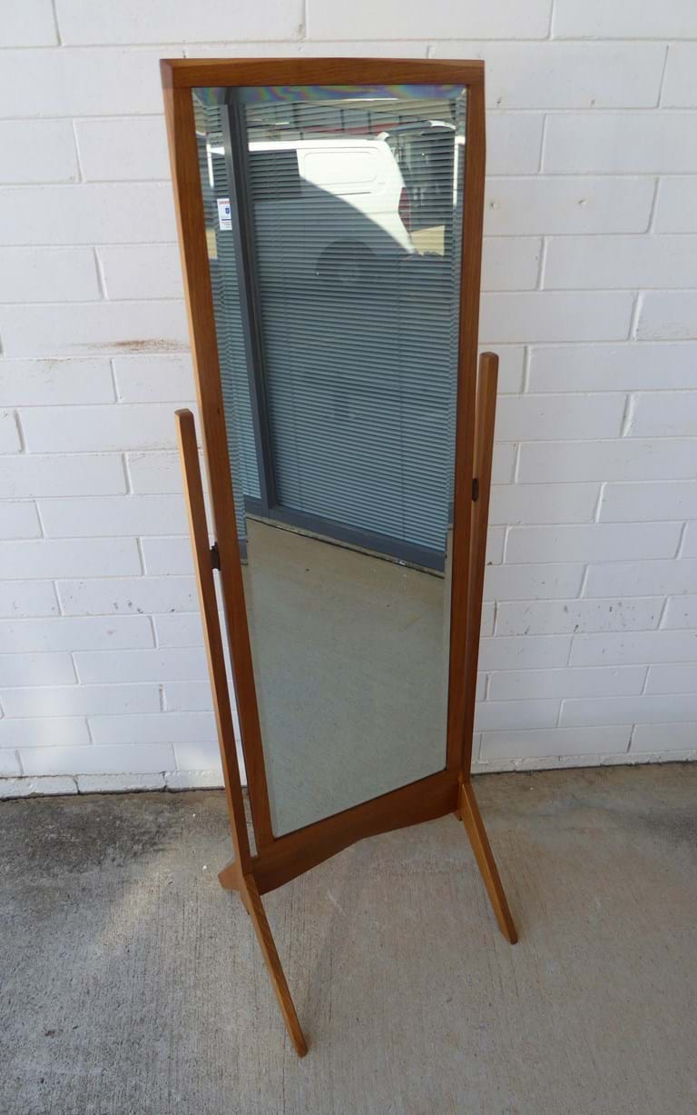 1950s timber framed cheval mirror in Tasmanian oak