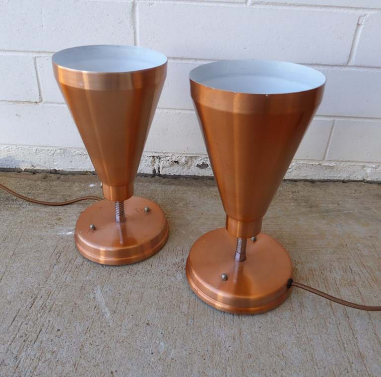 Pair 1960s spun lacquer table lamps