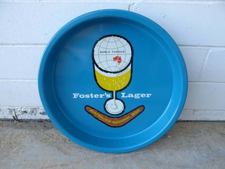1960s–1970s pressed metal serving tray by Gadsen, Australia, advertising Foster's Lager