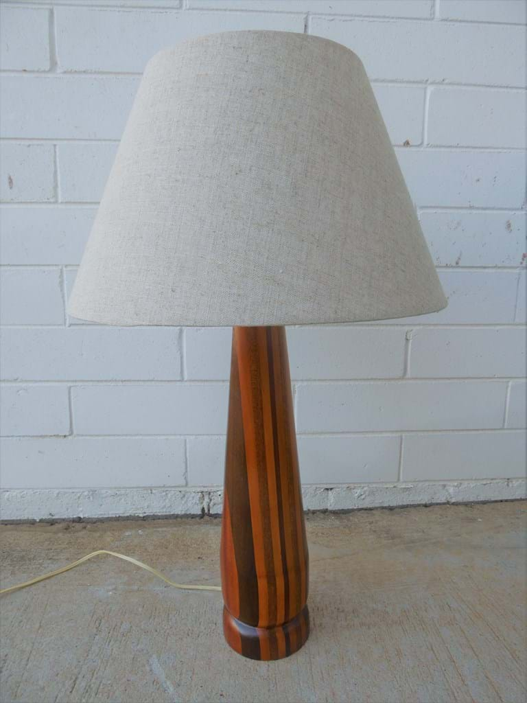 1960s turned timber table lamp
