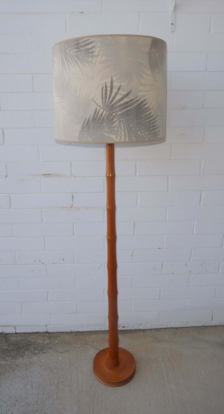 1950s–1960s faux bamboo timber floor lamp