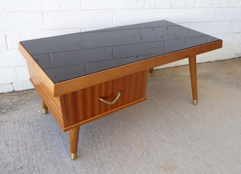 1950s coachwood side table with two-way drawer with Vitrolite top