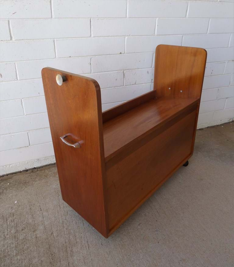 1960s timber ?library trolley