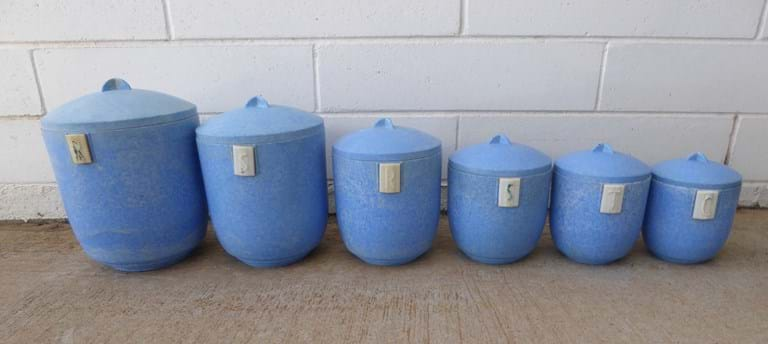 "Set six 1940s-1950s ""Duperite"" bakelite canisters"