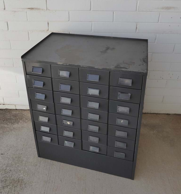 1960s 24-drawer pressed steel card index unit