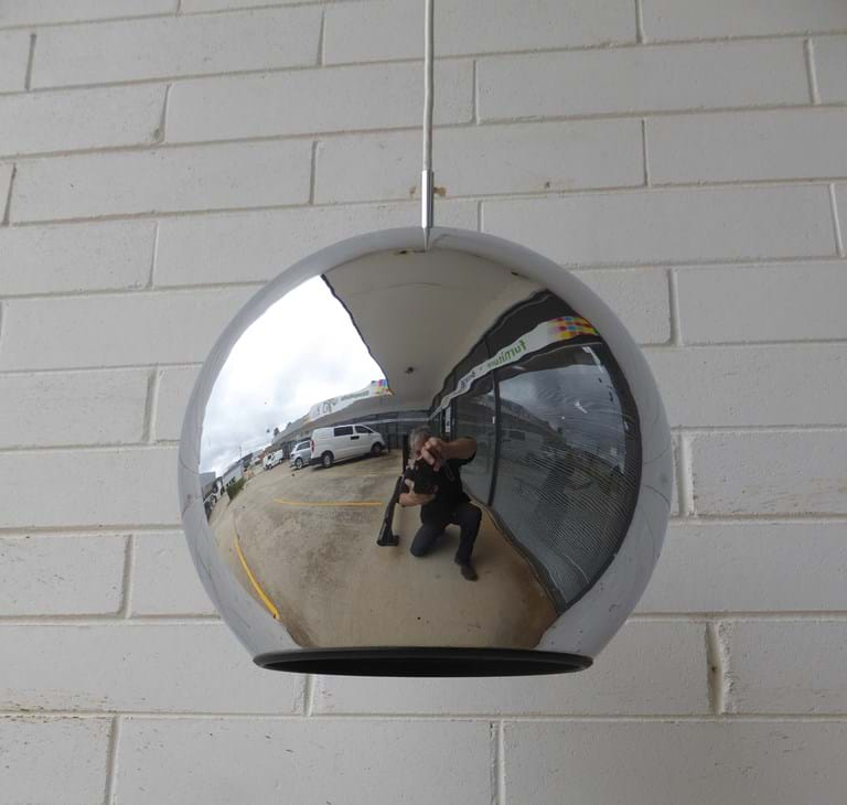 1970s pendant light fitting with spherical metal shade