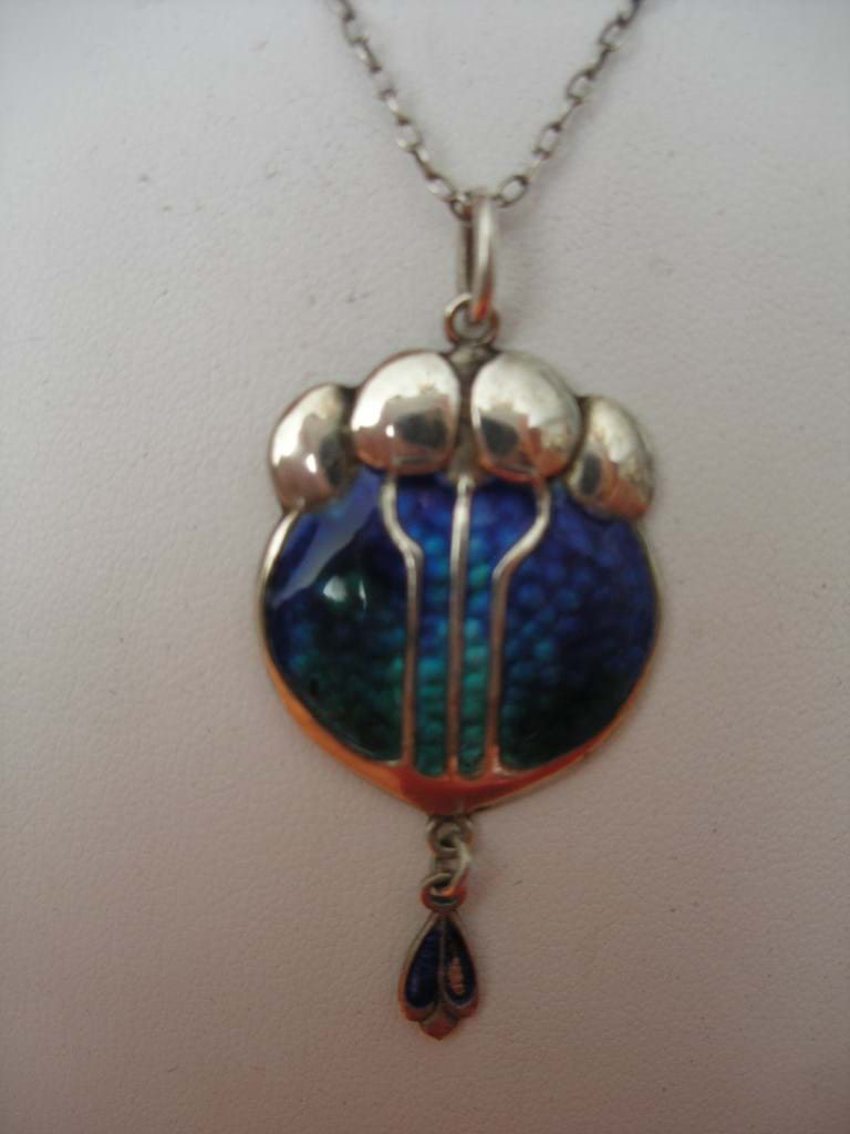 Art nouveau enamel silver pendant by James Fenton & Co