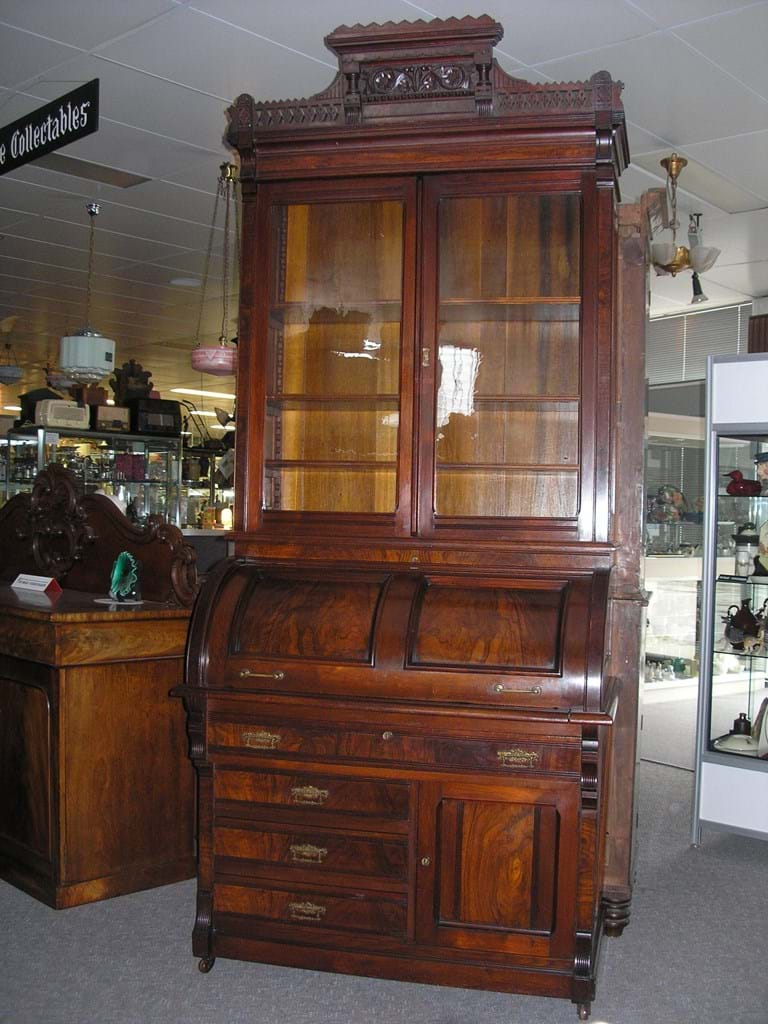 Victorian cylinder top secretaire bookcase