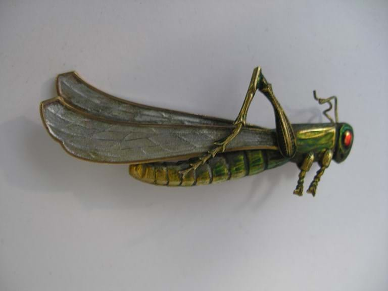 Art deco enamel grasshopper brooch