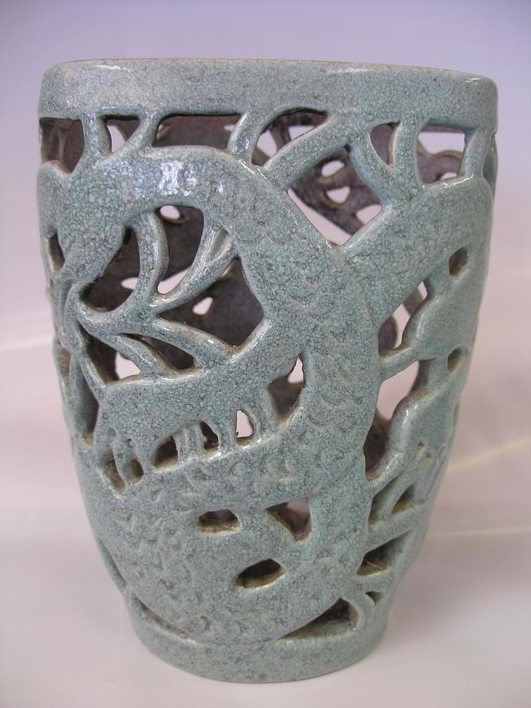Klytie Pate pottery dragons candle holder
