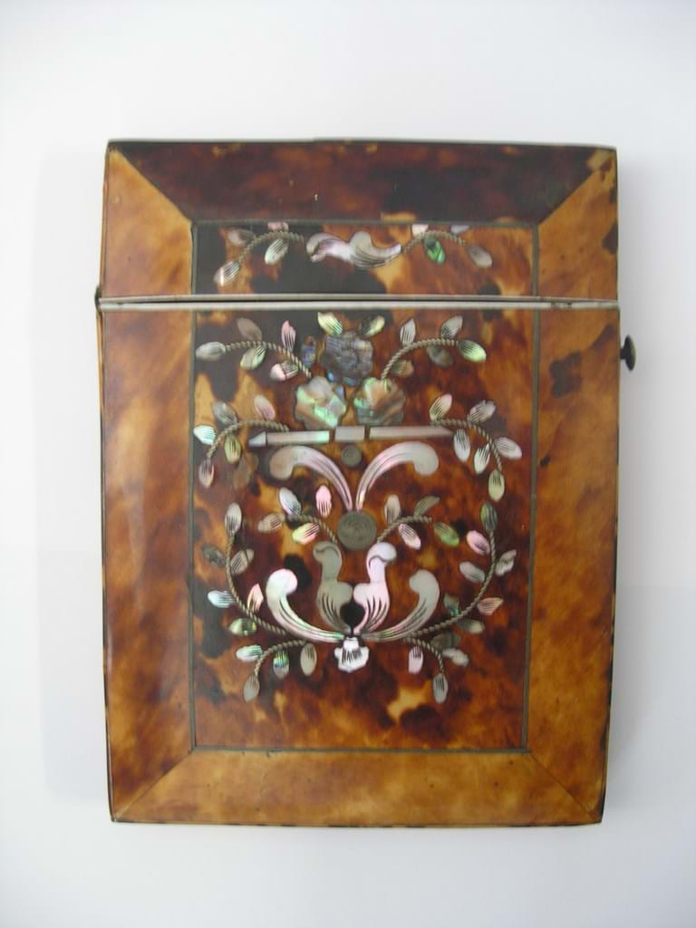 Victorian tortoise shell cards case