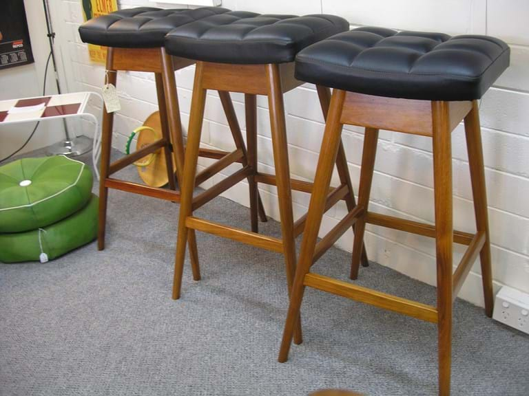 T. H. Brown set of three blackwood bar stools
