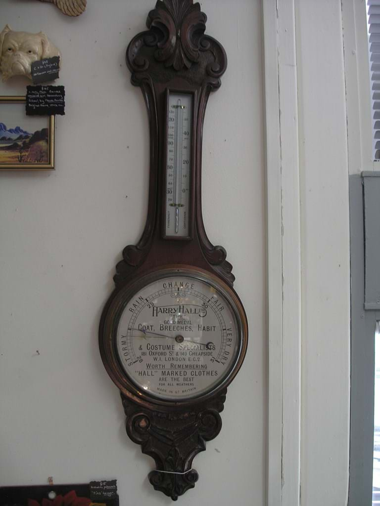 Mahogany banjo wall barometer advertising Harry Hall Ltd London