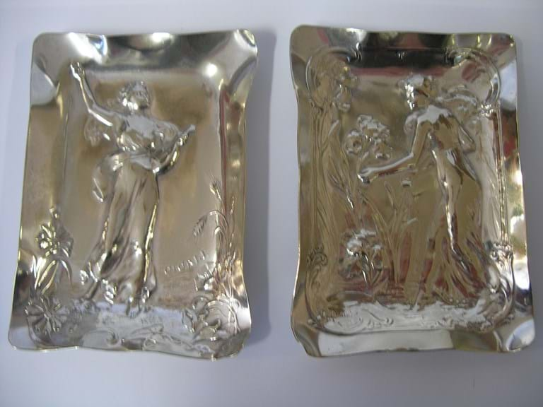 Pair continental silver art nouveau dishes