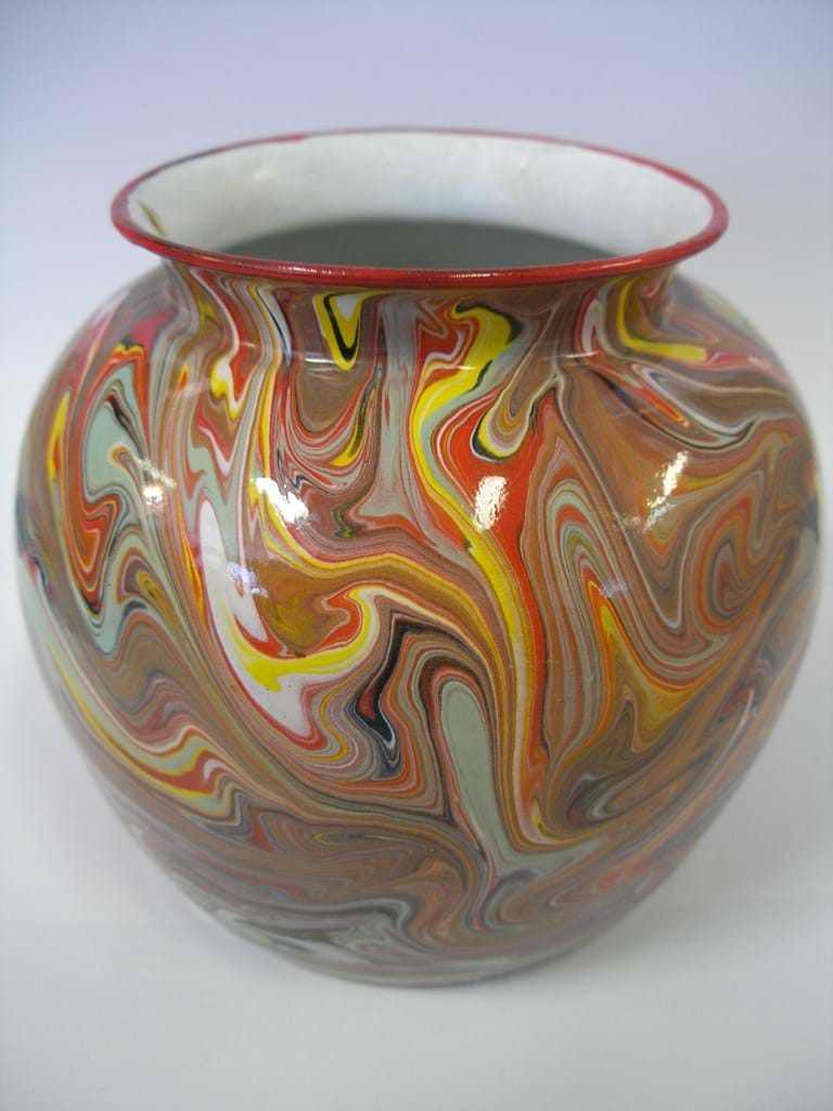 Multicoloured enamel vase