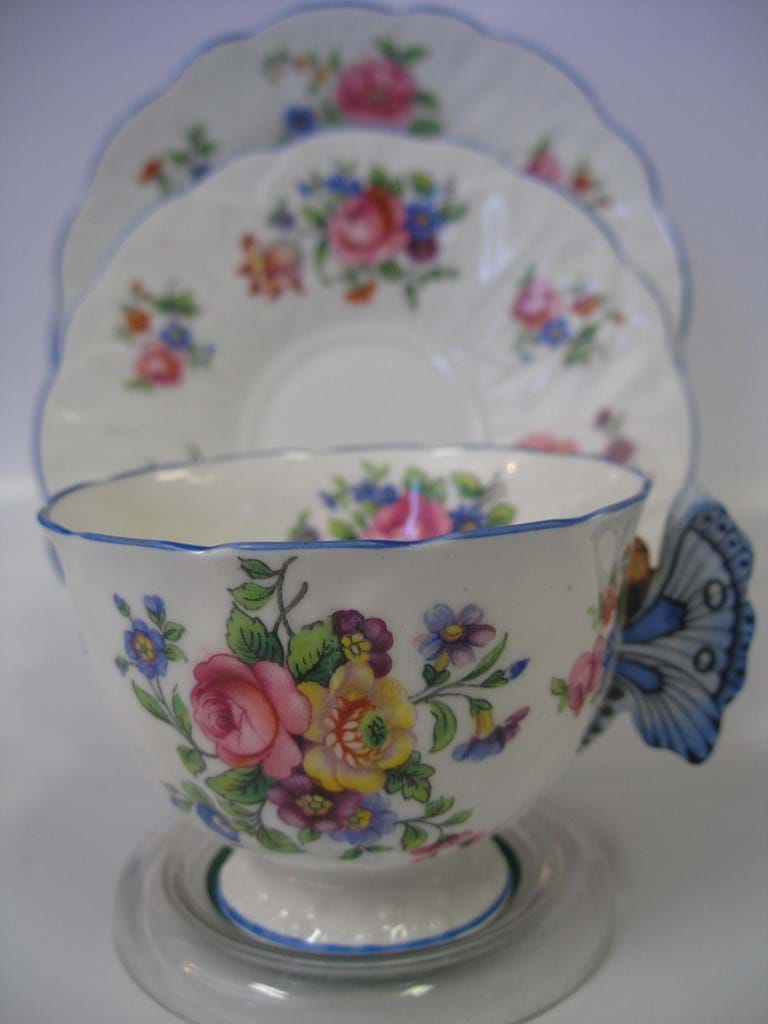 Aynsley bone china trio butterfly handle