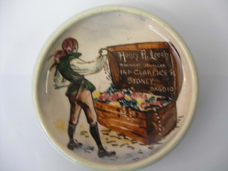 Martin Boyd Australian pottery dish advertising Henry Leech Merchant Jeweller, Sydney