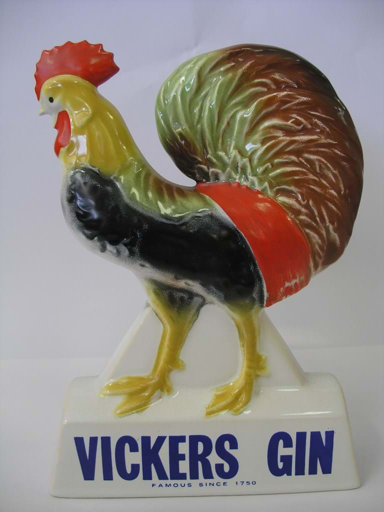 1950s Diana Australian pottery rooster figure advertising Vickers gin