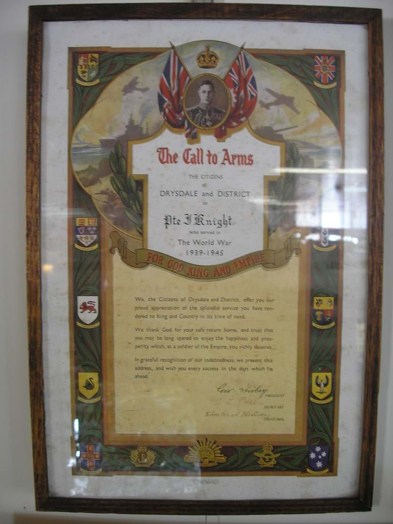 WWII Australian Call To Arms framed poster