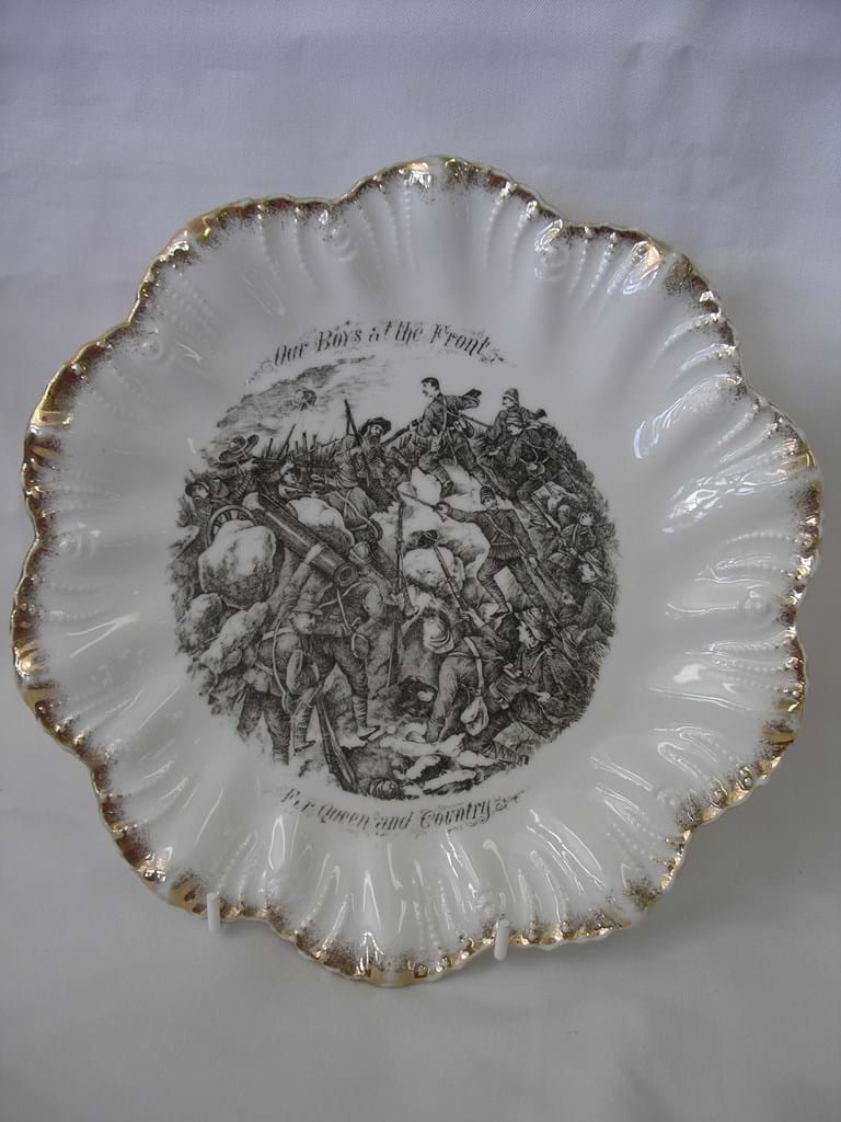 Bone china military plate Boer War Our Boys at the Front