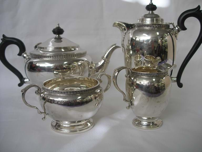 Victorian sterling silver four piece tea coffee set