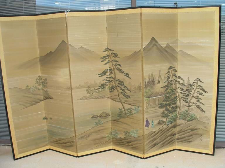 Japanese painted silk six panel room divider