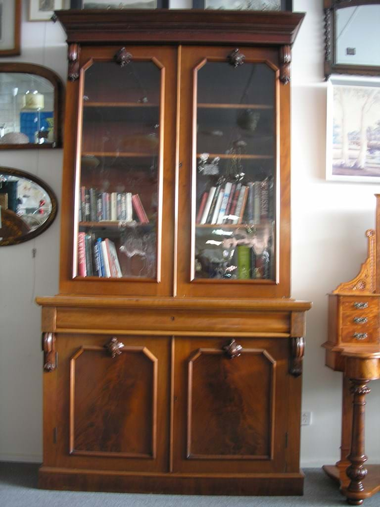 Victorian mahogany two height bookcase