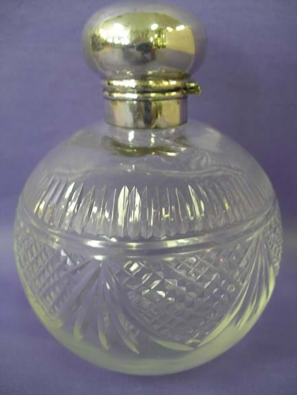 Edwardian crystal perfume bottle sterling silver mount